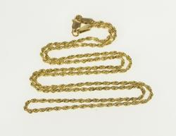 14K Yellow Gold 1.5mm Rolling Classic Rope Chain Link Necklace