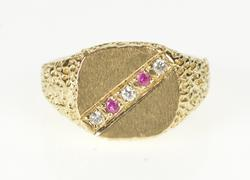14K Yellow Gold Men's Retro Syn. Ruby Diamond Textured Signet Ring