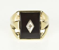 10K Yellow Gold Retro Men's Black Onyx Diamond Statement Ring