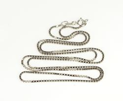 14K White Gold 1.0mm Fashion Chain Classic Box Square Link Necklace