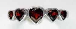 Lovely 5-Garnet Heart Ring in Sterling Silver