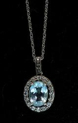Gorgeous Blue Topaz & White Sapphire Necklace, Sterling