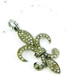 Large Pave Diamond Fleur-de-Lis Pendant & Chain