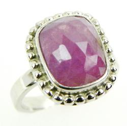 Sterling Ring with Rose Cut Pink Sapphire, Size 5