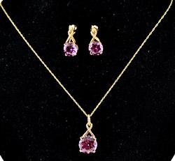 Fantastic Pink CZ Earrings & Necklace Set