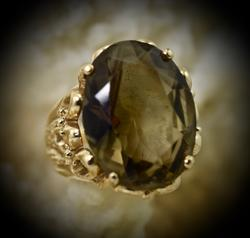 Bold Smokey Quartz 14K Ring
