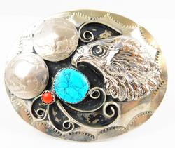 Turquoise/Coral Eagle Belt Buckle w/Buffalo Nickels