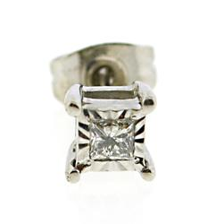 Sterling Silver Princess Cut Diamond Single Stud