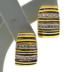 Strong 18kt Diamond Ribbed Earrings
