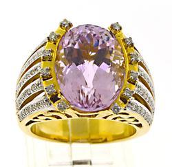 Charming Natural Kunzite and Diamond Ring