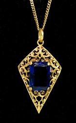 18KT Yellow Gold Filigree Necklace with Blue Crystal