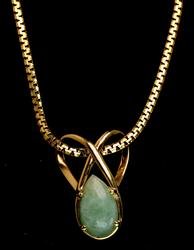 Beautiful Pear-Cut Jade necklace in 14KT Yellow Gold
