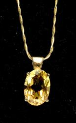Sparkling Citrine Necklace in 14KT Yellow Gold
