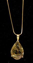 Interesting Smoky Quartz Necklace in 14KT Yellow Gold