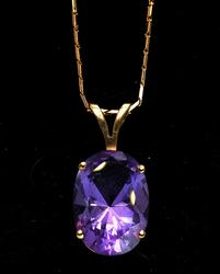 Huge 4.84CT Amethyst Necklace in 14KT Yellow Gold