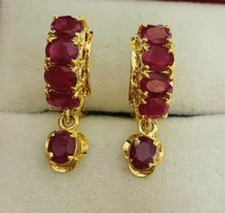 6.00 Carat Ruby Earrings in 14kt Gold