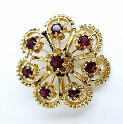 Stylish 7-Petal and 8 Garnett 14K Brooch/Pendant
