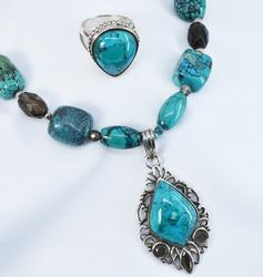 Chic Turquoise necklace and Ring in .925 Silver