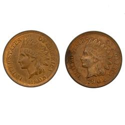 1902 And 1908 Red Brown BU Indian Head Cents