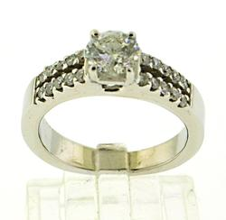 Elegant 18kt White Gold Double Row Diamond Ring