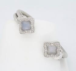 David Yurman Chalcedony & Diamond  Quatrefoil Cuff