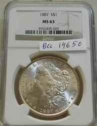 1887 Morgan  Dollar, NGC MS-63, Estate owned, PQ