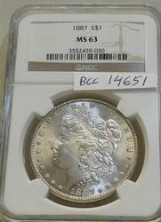 1887 Morgan  Dollar, NGC MS-63, Estate owned, PQ