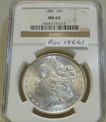 1889 Morgan  Dollar, NGC MS-63, Estate owned, PQ