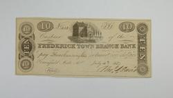 1837 $10.00 Frederick Town Branch Bank Note