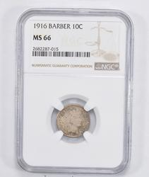MS66 1916 Barber Dime - NGC Graded