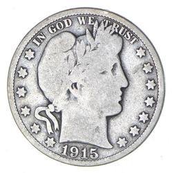 1915 Barber Head Silver Half Dollar - Circulated