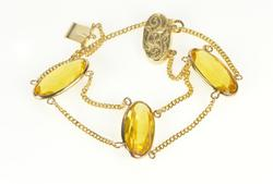 14K Yellow Gold Retro Oval Citrine Chain Etched Clasp Bracelet