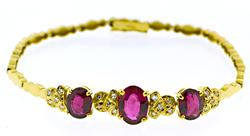 Beautiful 18kt  Rubellite and Diamond Bracelet