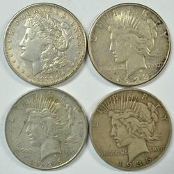 Nice 1921-S, 1923-D, 1926-D, & 1935-S US Silver Dollars