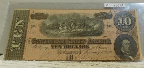 1864 $10.00 Confederate States of America, Richmond