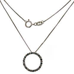 Fabulous IR Blue & White Diamond Circle Necklace