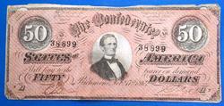 Bright 1864 $50 Confederate Note
