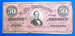 Beautiful 1864 $50 Confederate Note