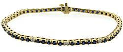 Elegant Blue Sapphire and Diamond Line Bracelet