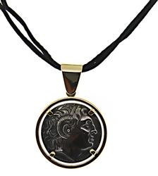 Greek Coin Pendant on Cord Necklace