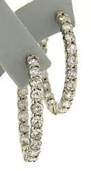 Luxurious White Gold 4.97ctw Oval Diamond Hoop Earrings
