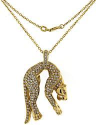Unforgettable 18kt Pave Diamond Cougar Pendant