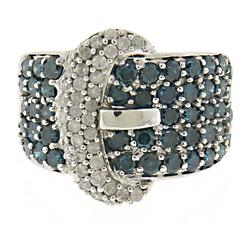 Pretty IR Blue and White Diamond Buckle Ring