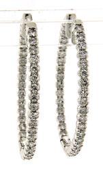 Luxurious 2ctw Oval Diamond in out Hoop Earrings