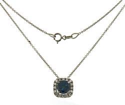 Lovely 18kt Blue Dial w Diamond Cush Halo Necklace