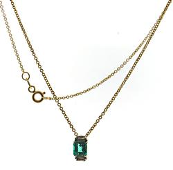 Stunning Emerald and Diamond Pendant on Chain