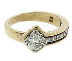 Glowing Euro Cut Diamond Center Ring w Single Cuts