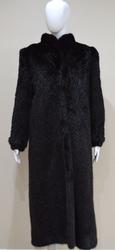 Konrad Furs Chevron Pattern Black Mink Coat