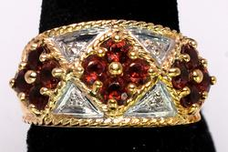 Powerful Garnet Ring in Two-Tone Gold