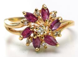 Gorgeous Ruby & Diamond Flower Ring in 14KT Yellow Gold